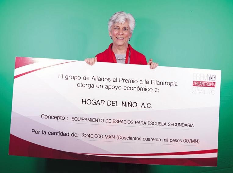 El segundo lugar fue para Hogar del Niño, A.C. con un incentivo económico de 240,000 pesos para equipamiento de espacios para escuela secundaria.
