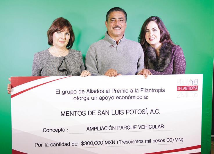 El primer lugar fue para Mentos de San Luis Potosí, A.C. con un incentivo económico de 300,000 pesos para la ampliación del parque vehicular.