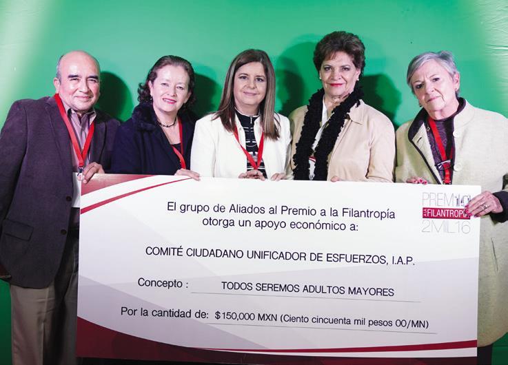 """Y el otro tercer lugar fue para Comité Ciudadano Unificador de Esfuerzos, I.A.P. con un incentivo de 150,000 pesos para la iniciativa """"Todos seremos adultos mayores""""."""